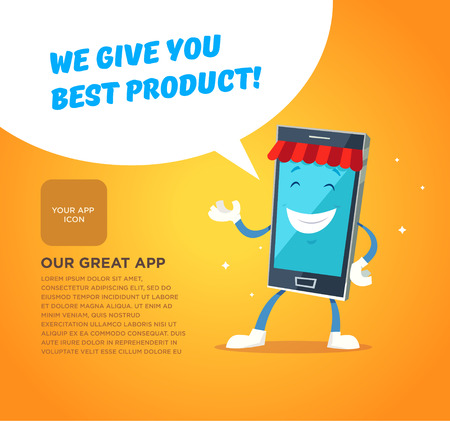 mobile internet: Phone character app market. Concepts for web banners and printed materials. Vector illustration Illustration