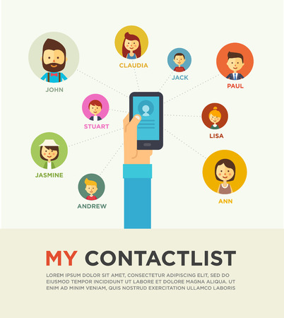 mobile phone: Social Networking People Conceptual Vector Design