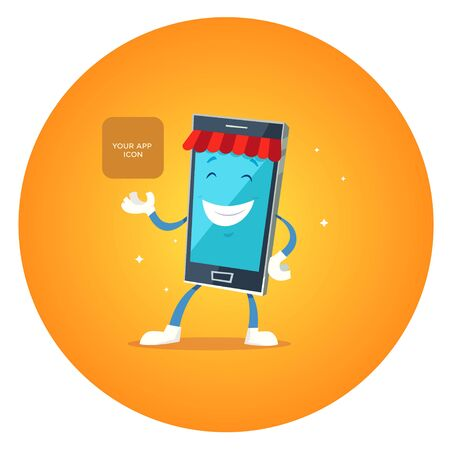 app banner: Phone character app market. Concepts for web banners and printed materials. Vector illustration Illustration