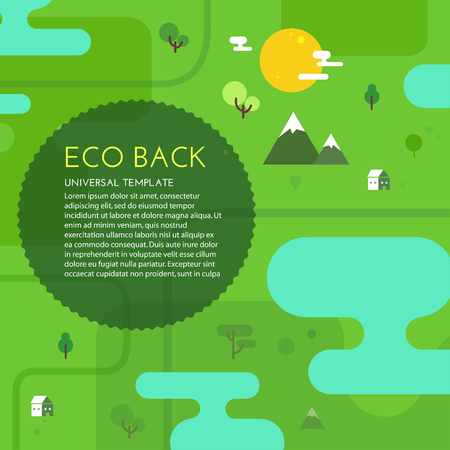 alpine plants: Green eco background. Vector illustration