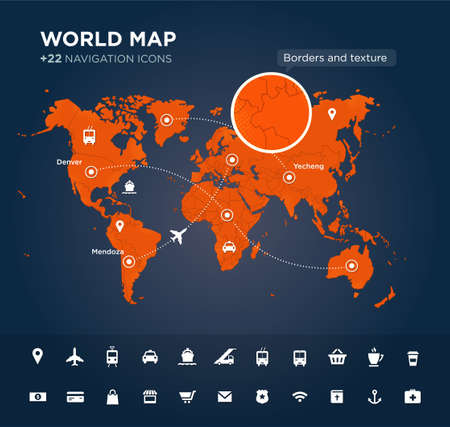 designation: World map with tags, points and destinations, continents, designation, global, navigation icons. Vector textured background Stock Photo