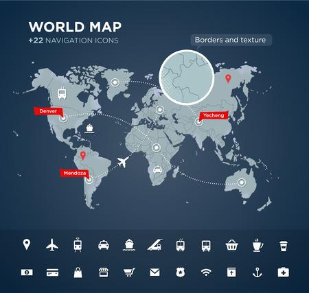 Wereldkaart met labels, punten en bestemmingen, continenten, de aanduiding, globaal, navigatie iconen. Vector geweven achtergrond Stock Illustratie