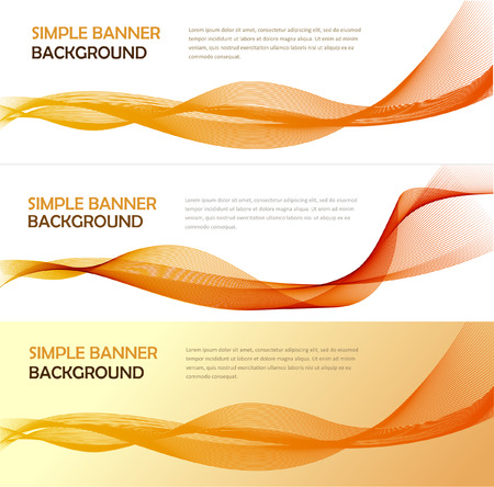 Three absrtact banners with gradiented webs. Vector. Line wave background