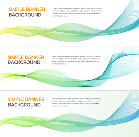 Three absrtact banners with gradiented webs. Vector. Line wave background Imagens - 42154687