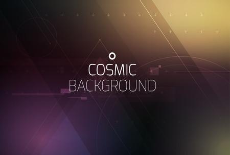 Kosmische glanzende vector abstracte achtergrond. Wetenschap, disco, party. Print, video. Stock Illustratie