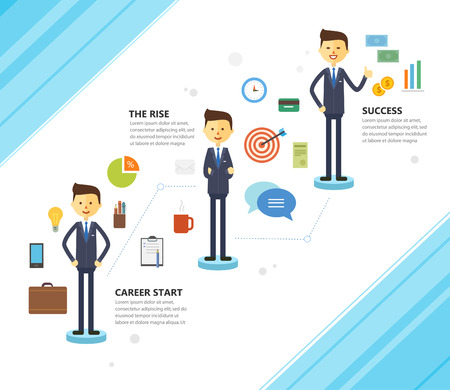illustration of business career growth. Vector. Flat. Icon set businessman character 矢量图像