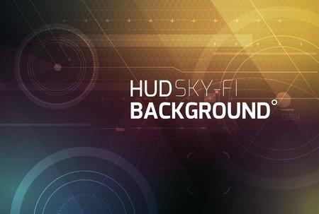 абстрактный: Космический HUD Sci-Fi интерфейс вектор абстрактный фон. Наука, дискотека, вечеринка. Печать, видео. Иллюстрация