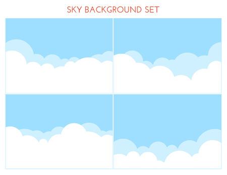 bright sun: Set of Sky Background.  Vector illustration. Cartoon clouds