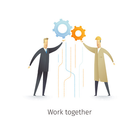 Businessman and engineer working together. Vector illustration EPS10.0 fully editable.
