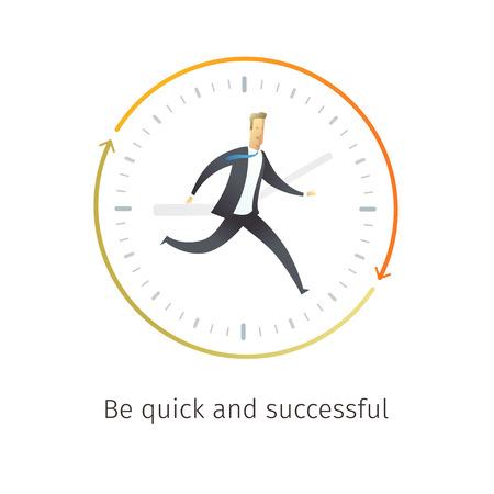 Zakenman loopt met de tijd. Wees er snel bij, succesvol. Vector illustratie eps10.0 volledig bewerkbaar.