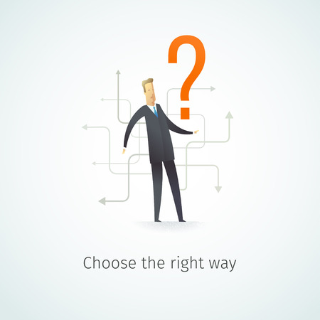 right path: Businessman looking for the right path in his career. Vector illustration EPS10.0 fully editable. Illustration