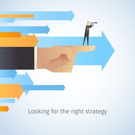 business help: businessman looking for the right strategy. Thumb indicates the direction. Vector illustration EPS10.0 fully editable. Illustration