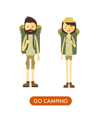 male female: Flat cartoon couple with hiking equipment isolated on white background. Modern minimalistic flat vector style.