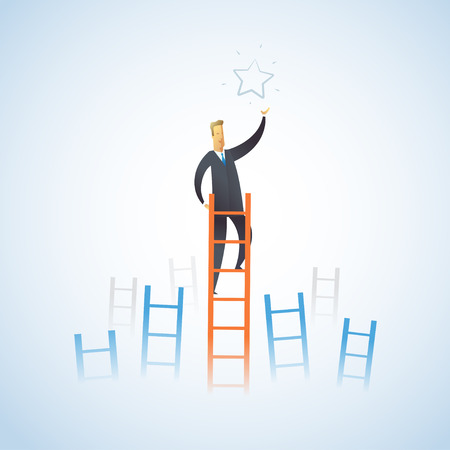 Businessman climbs the stairs to get a star. Successful leadership. Vector illustration EPS10.0 fully editable. Çizim