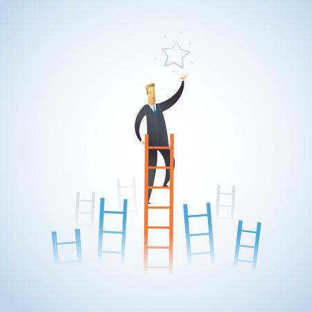 exito: El hombre de negocios sube las escaleras para llegar a una estrella. El liderazgo exitoso. Ilustración vectorial eps10.0 completamente editable. Vectores