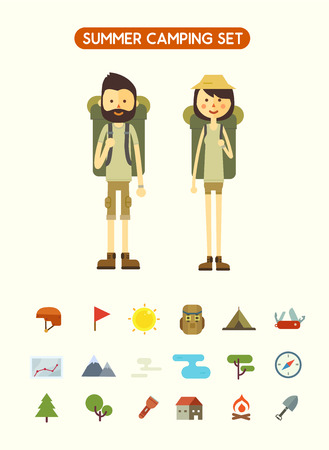 couple hiking: Flat cartoon couple with hiking equipment isolated on white background. Set of camping icons. Modern minimalistic flat vector style.