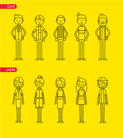 illustration line art: Casual set characters for use in design. vector flat illustration. Line art style