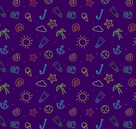 animal pattern: Seamless summer blue sea pattern background for summer. Vector eps 10. Starfish sun sea palm Illustration