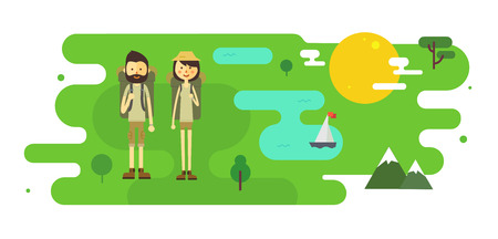 Flat cartoon couple with hiking equipment in a landscape illustration. Modern minimalistic flat vector style.
