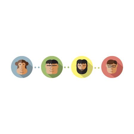 homo sapiens: Evolition stages vector illustration Illustration