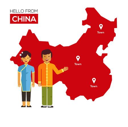 mapa china: Pareja china en trajes nacionales en un fondo de mapa de China. Concepto del recorrido. Ilustración vectorial Flat eps 10 Vectores