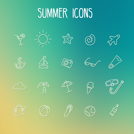 palmier: Summer icon set. Line sketch style. Sun palm sunglasses Illustration