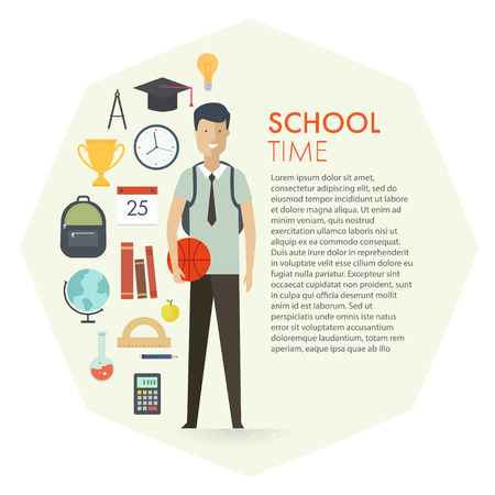 education background: Set of school objects and student character. Education background. Flat design. Education. Title text