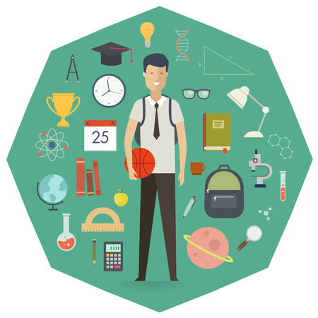 Set of school objects and student character. Education background. Flat design. Icon set