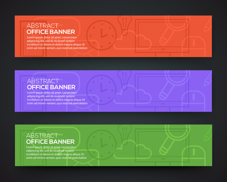 concise: Banner office theme. Set of flat design icons business and creative process.