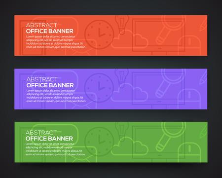 recursos financieros: tema de la oficina de la bandera. Conjunto de iconos de negocio plana de dise�o y el proceso creativo. Vectores