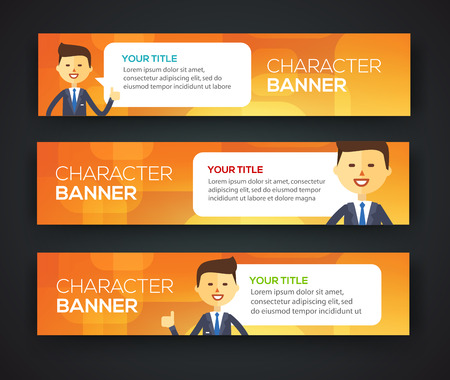 business meeting computer: Banner office theme. Businessman talk with speech bubble Illustration