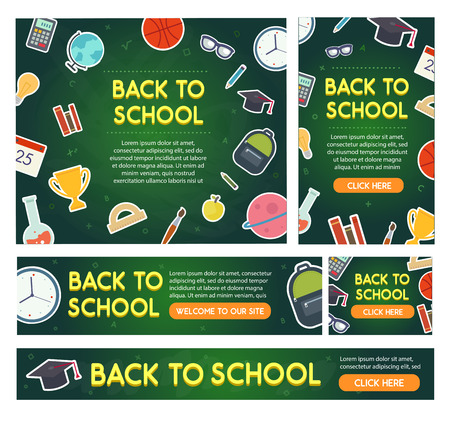 background colors: Back to school banner set different sizes. Educational elements on blackboard. Vector eps 10.