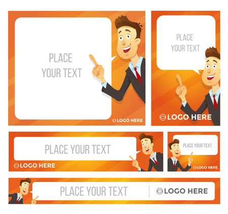 Businessman character says bubble. Vector illustration. Banner set