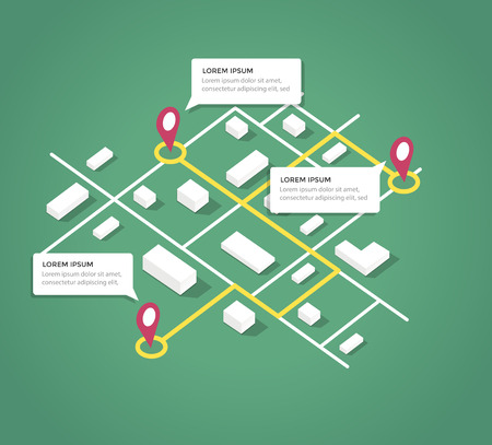 아이소 메트릭 도시 맵 디자인 요소입니다. 벡터 EPS 10 일러스트