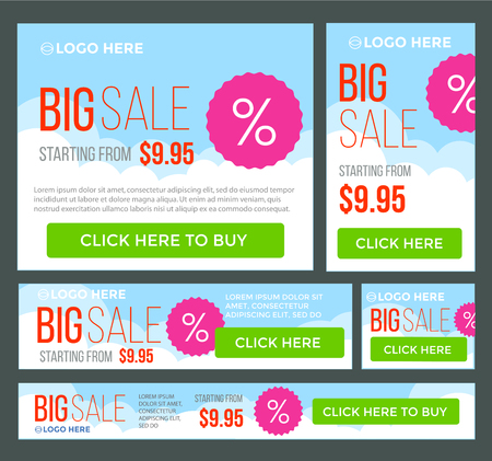 Big, half price and one day sale banner set. Summer theme. Vector.