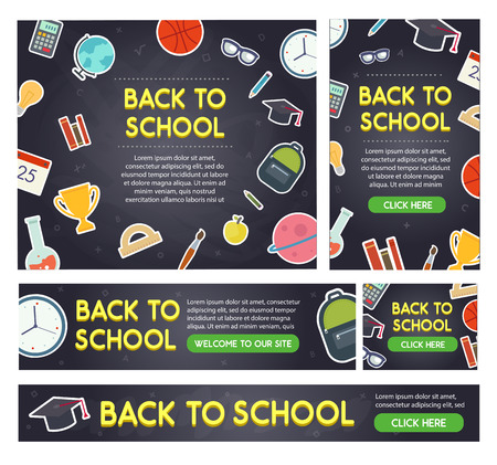 Back to school banner set different sizes. Educational elements on blackboard. Vector eps 10.