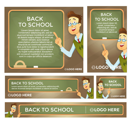 Back to school banner set different sizes. Teacher at the blackboard . Vector eps 10.