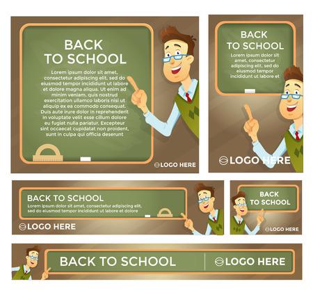 Terug naar school banner set verschillende maten. Leraar bij het bord. Vector eps 10.