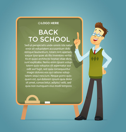Teacher at the blackboard . Vector eps 10. Text placeholder. Banner and poster Illustration