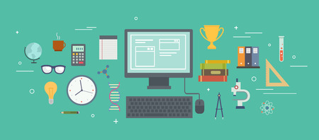 time of year: Set of school objects around the computer. Education background. Flat design. Icon set Illustration