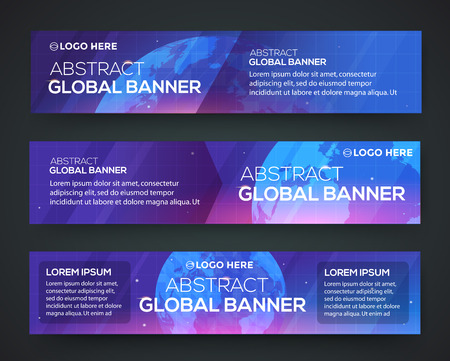 Business banner set. Globe on a blue background. Eps 10