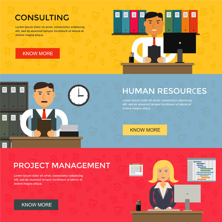 project management: Web banners for business work, start up and project management in flat design