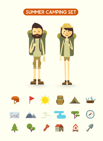 male female: Flat cartoon couple with hiking equipment isolated on white background. Set of camping icons. Modern minimalistic flat vector style.