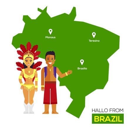 america del sur: Brasil pareja en trajes nacionales en un fondo de mapa de Brasil. Concepto del recorrido. Ilustración vectorial Flat