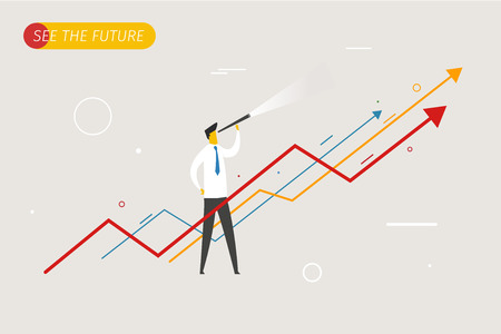 EMPRESARIO: Hombre de negocios con el telescopio mirando hacia el futuro. tablas de crecimiento. Ilustración del vector EPS10 archivo. Éxito, las tasas de crecimiento Vectores