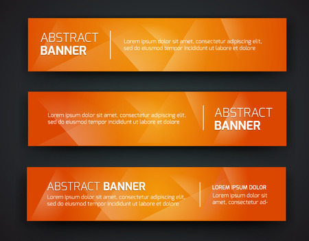 orange colour: Abstract banner design, gradient polygonal style. Vector Illustration