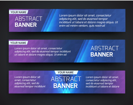 Abstract banner design, gradient triangle style. Vector Illustration