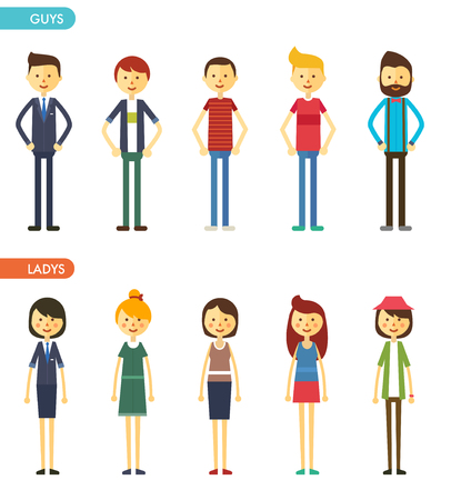 smile face: casual set characters for use in design. vector flat illustration