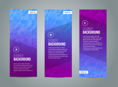 green banner: Abstract banner design, gradient triangle style. Vector Illustration
