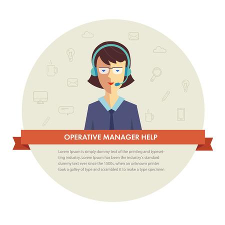 mobile operators: Female manager help banner. Vector eps 10 Illustration